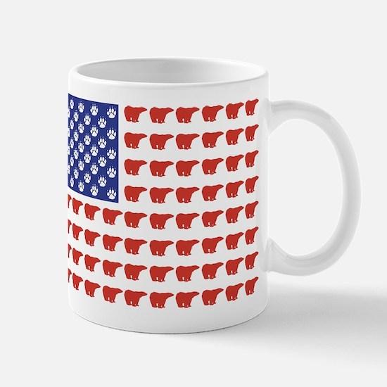 Polar Bear Patriotic Flag Print Mug