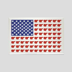 Polar Bear Patriotic Flag Print Rectangle Magnet