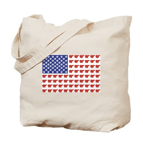 Polar Bear Patriotic Flag Print Tote Bag