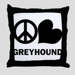Peace Love Greyhound Throw Pillow