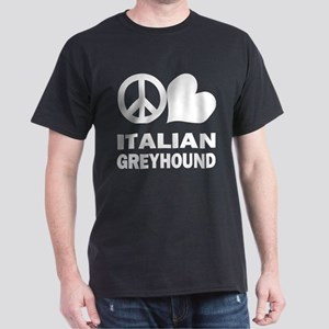 Peace Love Italian Greyhound Dark T-Shirt