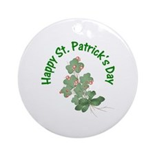 Happy St. Patrick's Day (shamrocks) Ornament (Roun