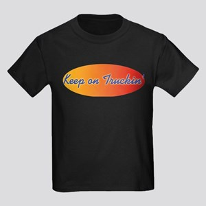Retro Keep On Truckin Kids Dark T-Shirt