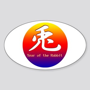 Rabbit Colors Oval Sticker