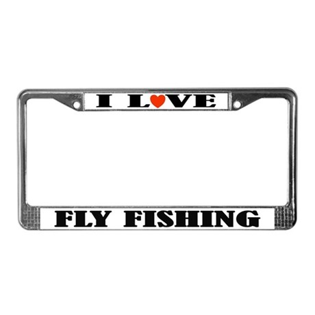 I Love Fly Fishing License Plate Frame