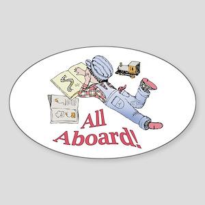 Train and Railroad Fanatic Sticker (Oval)