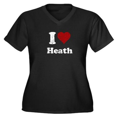I heart heath Women's Plus Size V-Neck Dark T-Shir