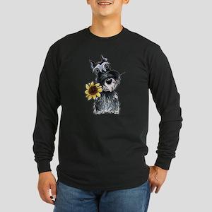 Sunflower Schnauzer Long Sleeve Dark T-Shirt