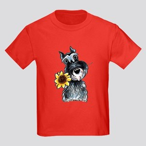Sunflower Schnauzer Kids Dark T-Shirt