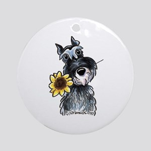 Sunflower Schnauzer Ornament (Round)