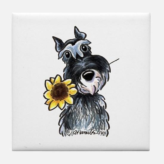 Sunflower Schnauzer Tile Coaster