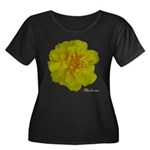 Marigold Flower Women's Plus Size Scoop Neck Dark