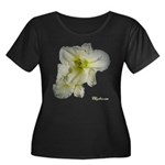 Lily Flower Women's Plus Size Scoop Neck Dark T-Sh