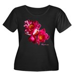 Peony Flower Women's Plus Size Scoop Neck Dark T-S