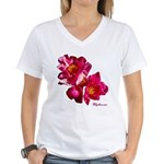 Peony Flower Women's V-Neck T-Shirt