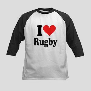 I Love Rugby Kids Baseball Jersey