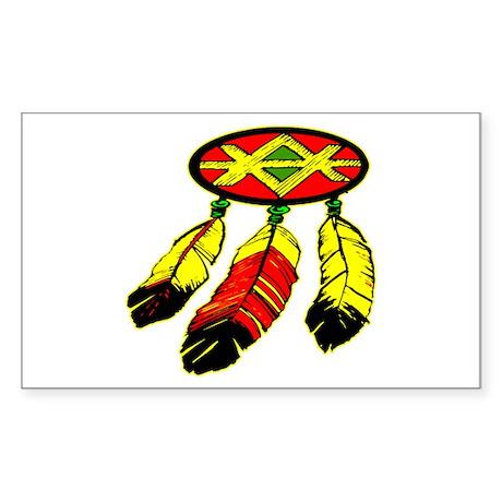 Mandela & 3 Feathers Sticker (Rectangle)