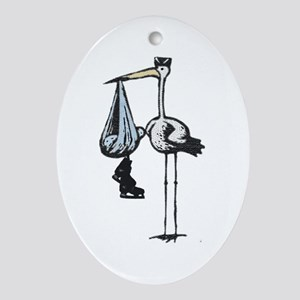 Hockey Stork Oval Ornament