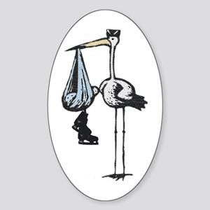 Hockey Stork Oval Sticker