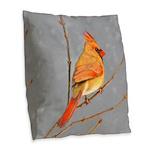 Cardinal on Branch Burlap Throw Pillow