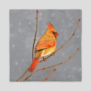 Cardinal on Branch Queen Duvet