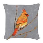 Cardinal on Branch Woven Throw Pillow