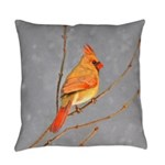 Cardinal on Branch Everyday Pillow