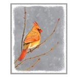 Cardinal on Branch Small Poster