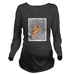 Cardinal on Branch Long Sleeve Maternity T-Shirt
