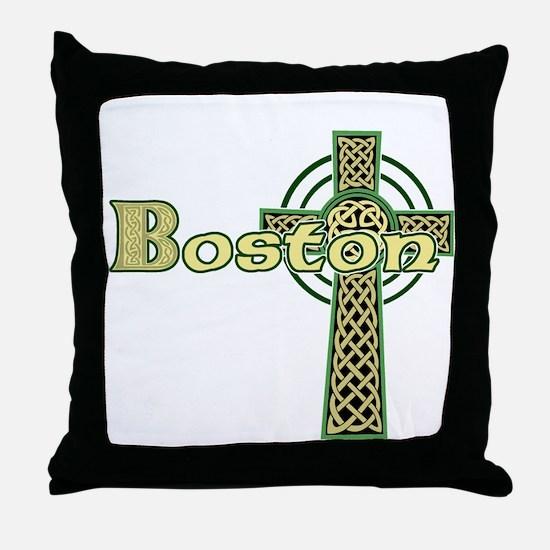 Boston Celtic Cross Throw Pillow