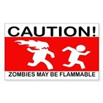 Flammable Zombies Sticker (Rectangle)
