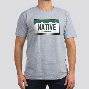 """""""NATIVE"""" Colorado License Plate Men's Fitted T-Shi"""