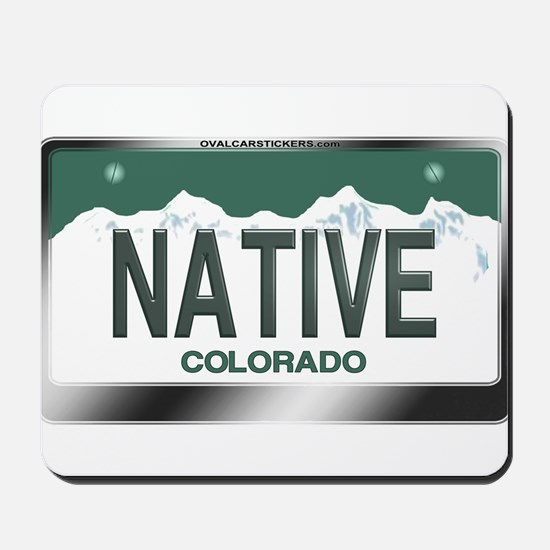"""NATIVE"" Colorado License Plate Mousepad"