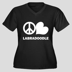 Peace Love Labradoodle Women's Plus Size V-Neck Da