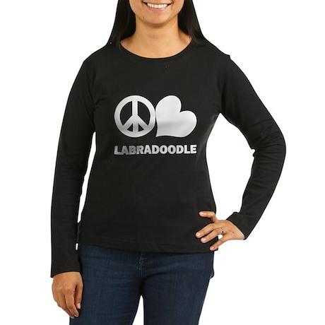 Peace Love Labradoodle Women's Long Sleeve Dark T-