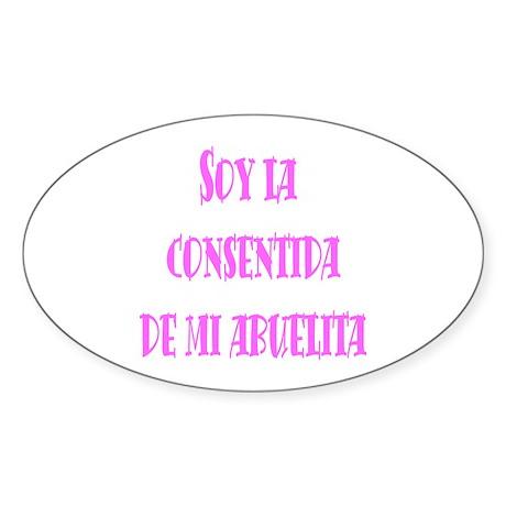 Consentida de Abuelita rosa Oval Sticker