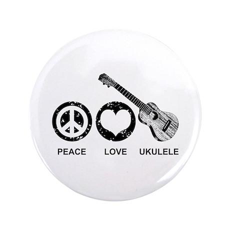 """Peace Love Ukulele 3.5"""" Button"""