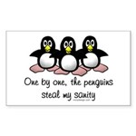 One by one, the penguins. Sticker (Rectangle)