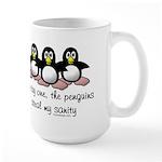 One by one, the penguins. Large Mug