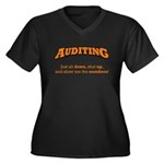 Auditing-Numbers Women's Plus Size V-Neck Dark T-S