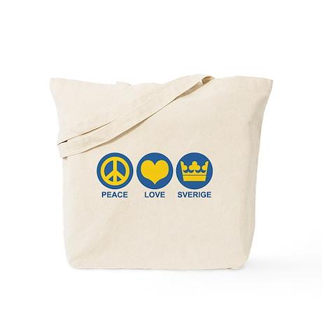 Peace Love Sverige Tote Bag