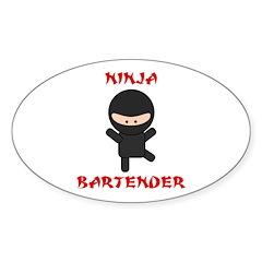 Ninja Bartender Plain Sticker (Oval 50 pk)