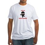 Ninja Bartender with Martini Fitted T-Shirt