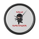 Ninja Bartender with Martini Large Wall Clock
