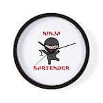 Ninja Bartender with Martini Wall Clock