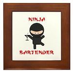 Ninja Bartender with Martini Framed Tile