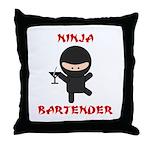 Ninja Bartender with Martini Throw Pillow