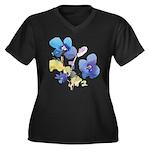 Watercolor Flowers Women's Plus Size V-Neck Dark T