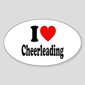 I Heart Cheerleading Sticker (Oval)