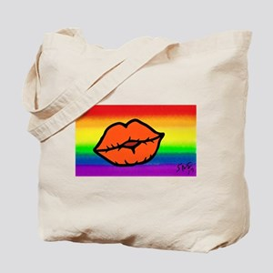 LIPS gay rainbow art Tote Bag